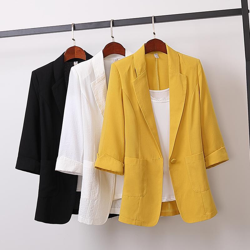 2020韩版棉麻中长款大码西装外套韩版宽松休闲时尚小西服女装秋装