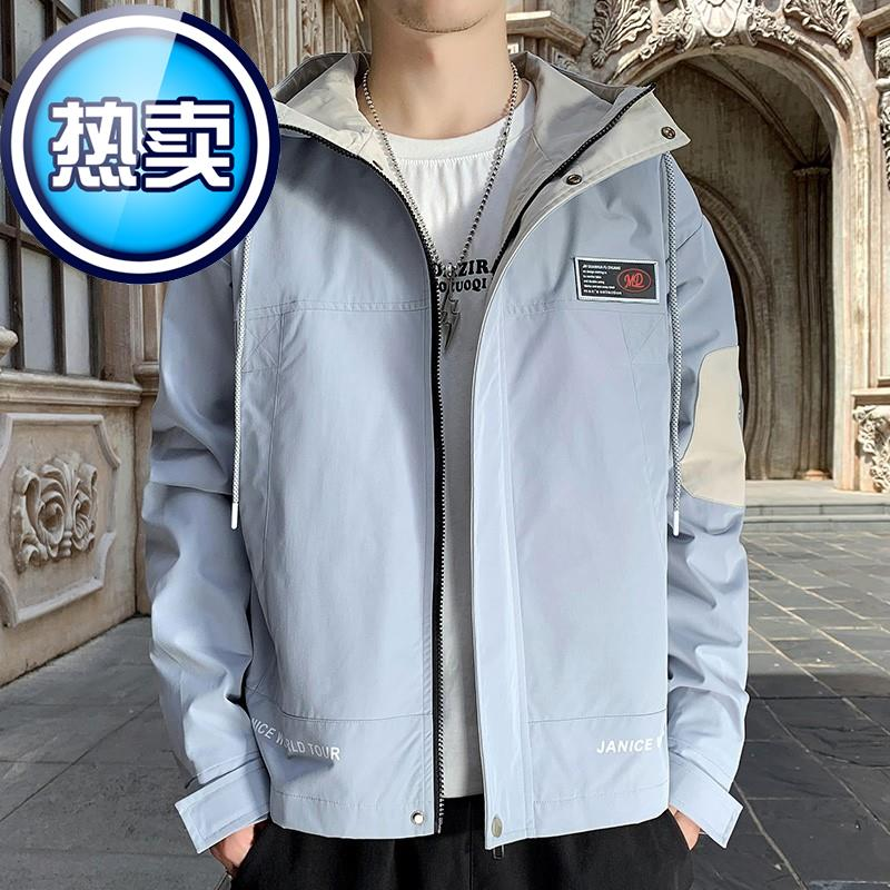 Tooling jacket mens coat 2021 spring and Autumn New Korean fashion trend 66 leisure sports short Hooded