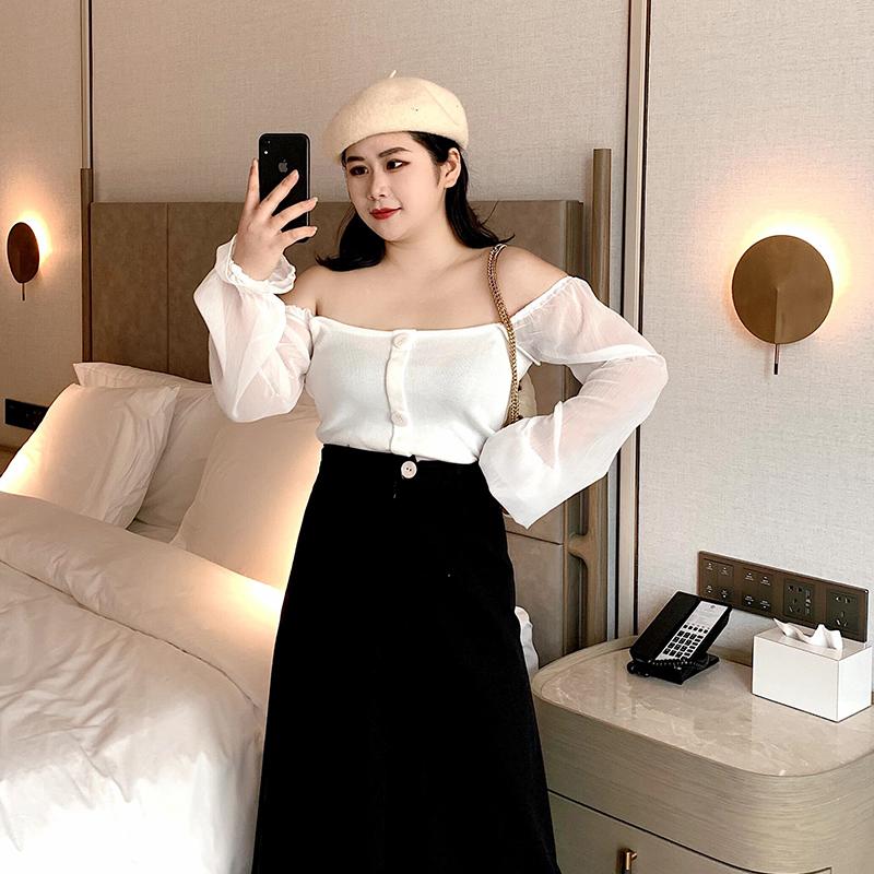 2020年春装胖妹妹遮肉方领长袖T恤洋气一字领小衫sim韩国大码女装 thumbnail
