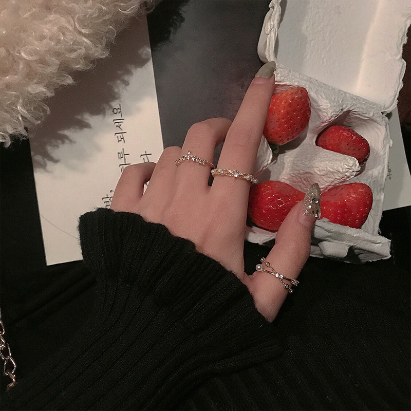 Ry minority design ring women ins trend & Queens creative personality hip hop food ring mouth adjustable Pearl