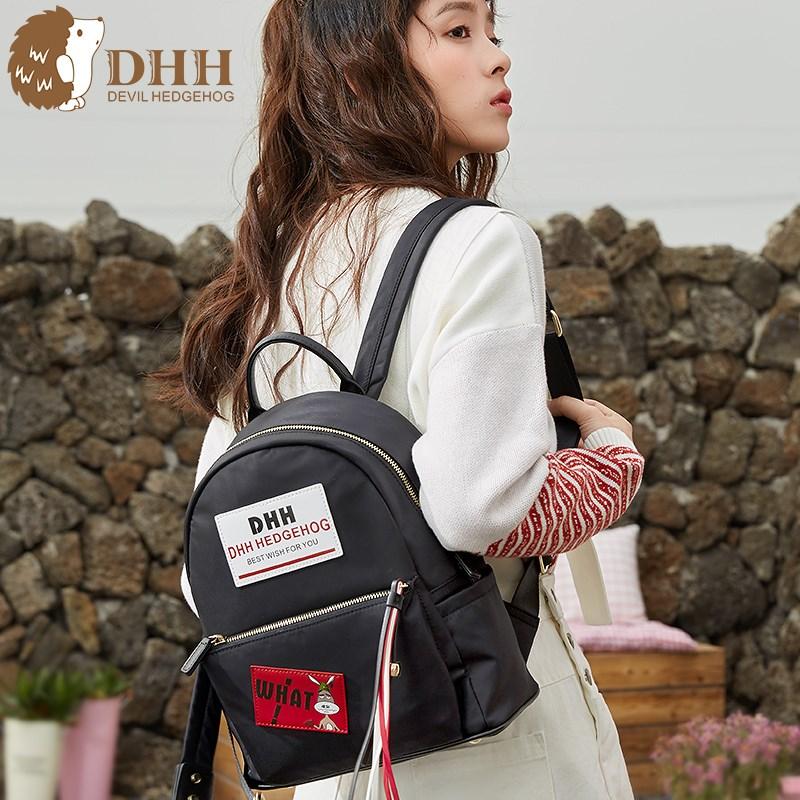 DHH2018新款日韩版潮学生校园书包英伦双肩包女尼龙牛津帆布背包