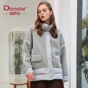 迪欧达2021冬装颗粒绒拼接短款轻薄羽绒服女立领防风洋气外套反季