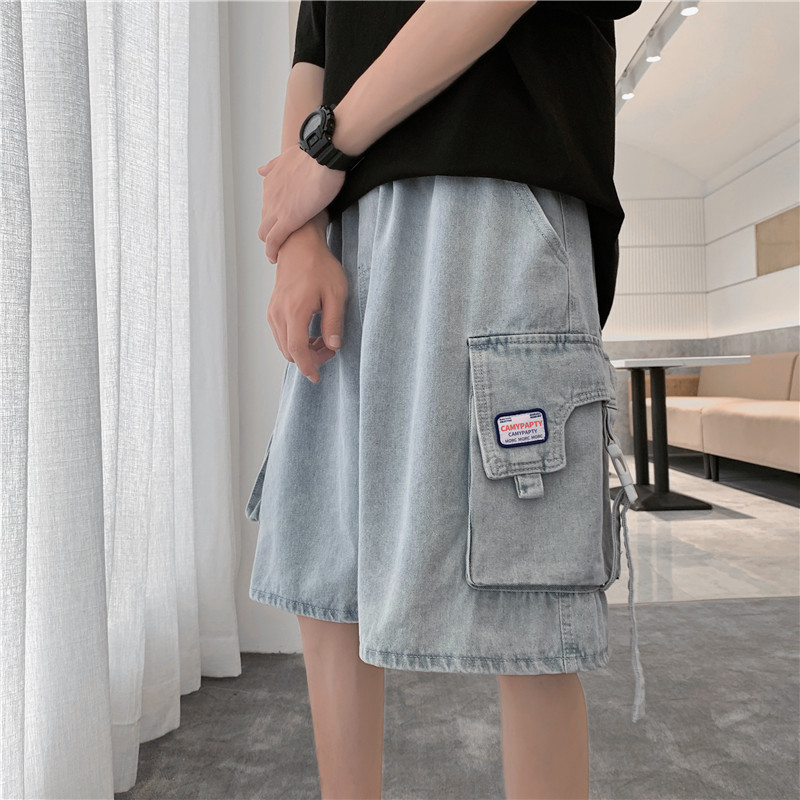 Guochao summer fashion brand work wear functional denim shorts mens BF loose big pocket casual students Capris
