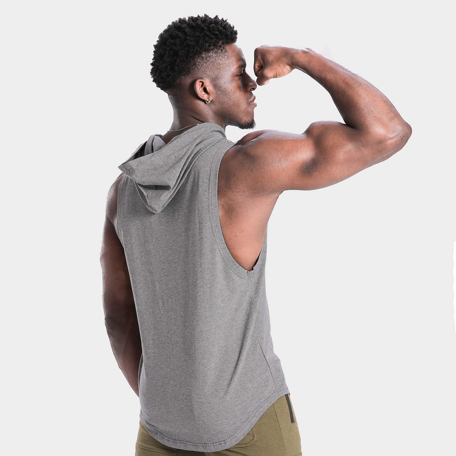 Mens hooded tight casual sports T-shirt fitness cantilevered short sleeve summer new basketball running vest top
