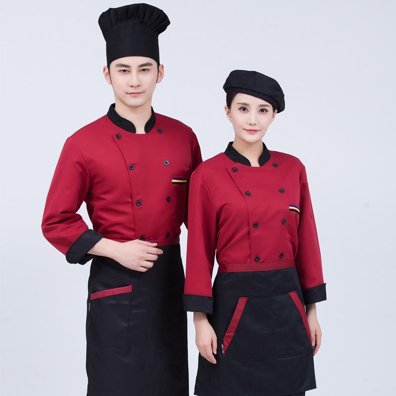 教育集体服中式餐厅厨师工作服秋冬装蛋糕师制服食堂后厨装面包烘