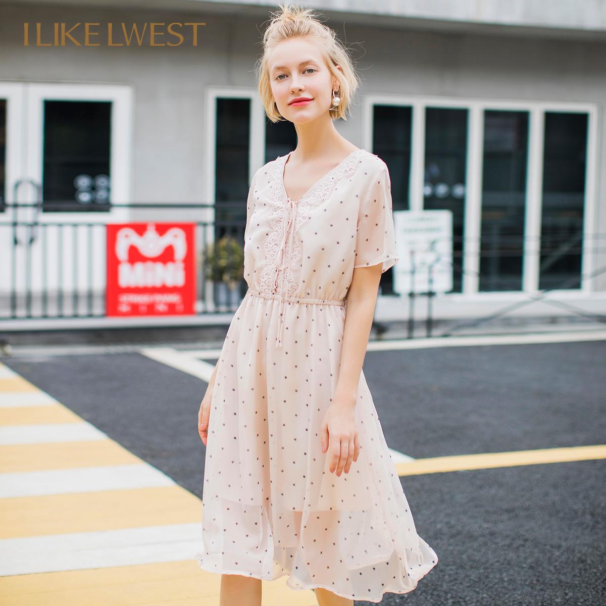 朗文斯汀2018夏新款�厝嵯膳�裙v�I波�c雪��B衣裙短裙OL8209070