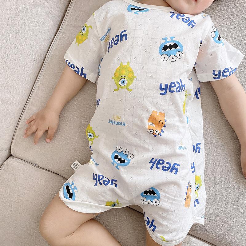 夏季宝宝纯棉呼吸连体睡衣男童卡通睡袍家居服女童睡裙薄款空调服