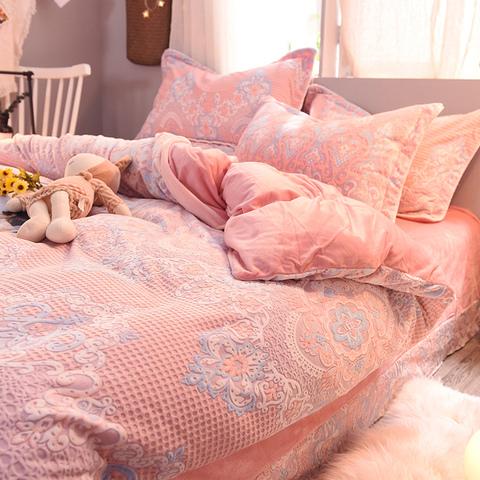 冬季网红珊瑚绒四三件套加厚法莱绒双面水晶绒床单被套床上用品4