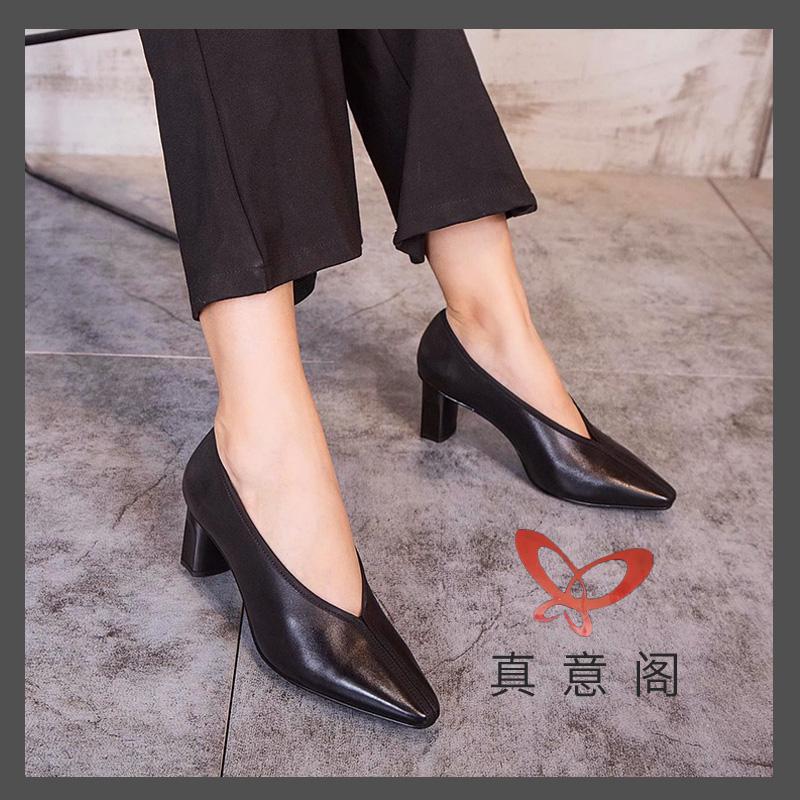 真皮女鞋头层牛皮2020春季新款欧货小方头浅口套脚奶奶鞋高跟鞋潮