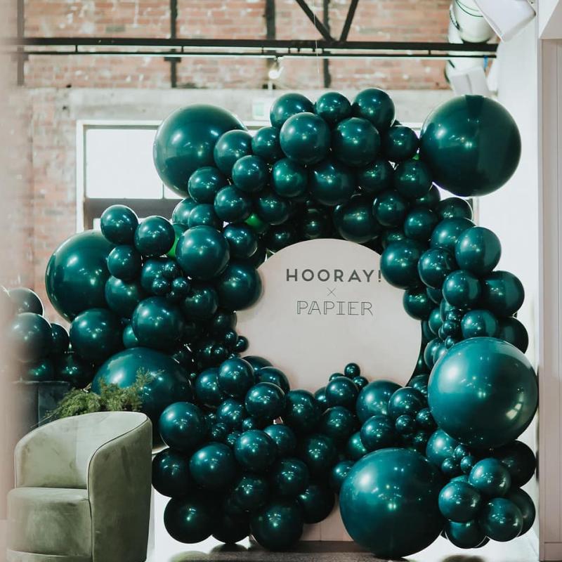 优质水晶墨绿湖水鸭蓝气球生日派对布置道具店铺开业造型场景布置