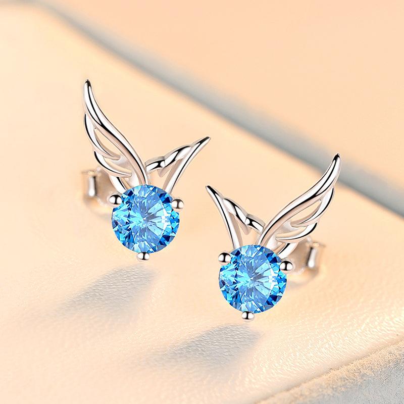 高质感天使之翼耳钉925纯银镀白金耳钉ins小众设计冷淡风翅膀耳环