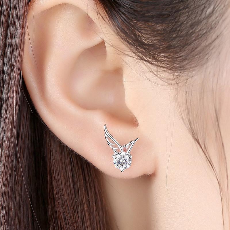 高质感s925纯银镀白金天使之翼耳钉小众个性轻奢翅膀耳环2021新款