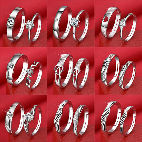 A couple of rings, a proposal, a pure silver ring, a simple net red jewelry, a wedding ring wholesale