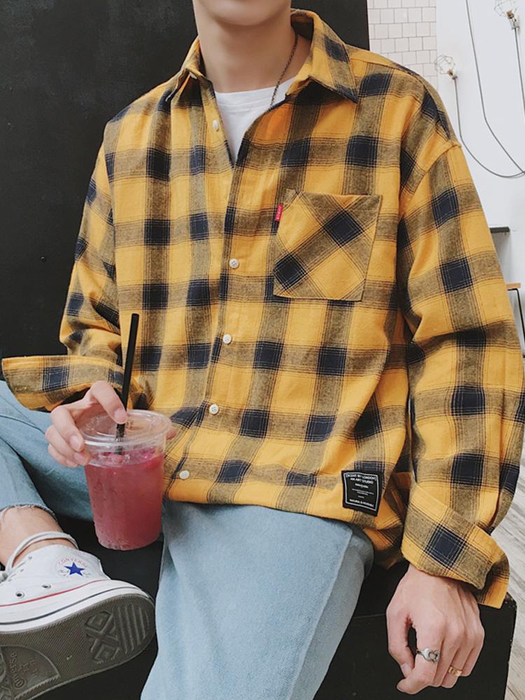 3春季男士襯衫格子襯衣長袖外套韓版潮流黃色港風休閑男裝寸衫