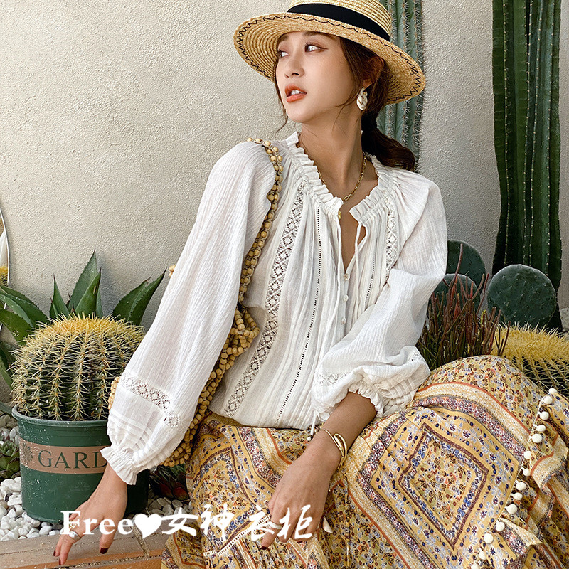Free goddess FP Europe and America storm New Summer Cotton Linen Lace White loose shirt top of Simia 2021
