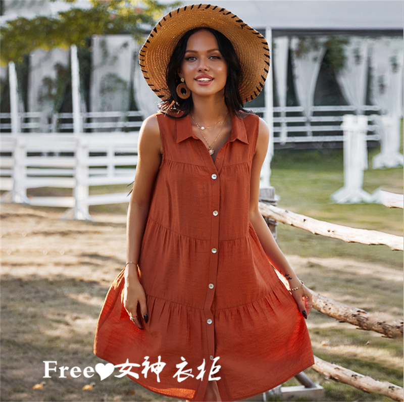 American genuine free people summer Bohemian sleeveless dress shirt collar holiday skirt short skirt 5 colors
