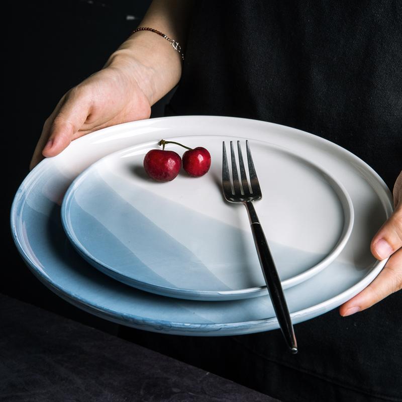 亿嘉陶瓷餐具ins网红菜盘子好看漂亮的家用创意平盘西餐盘牛排盘