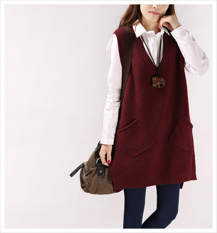 Sweaters, waistcoats, womens mid and long styles in spring and autumn, Korean version, new style, college style, loose knit sweater, vest, coat trend