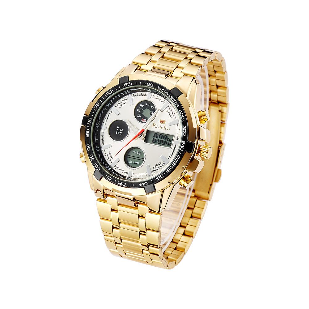 大表盘多功能运动防水手表 男士双显不锈钢带电子手表