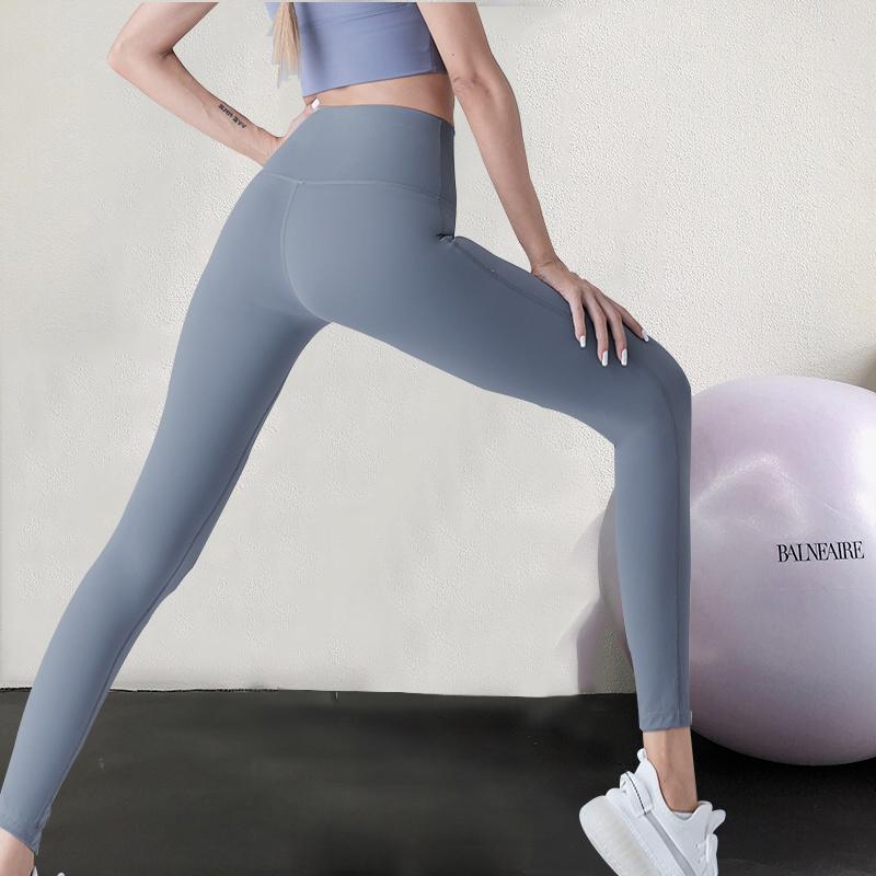 瑜伽裤女高腰提臀运动弹力外穿裸感紧身无痕塑身显瘦健身裤夏薄款