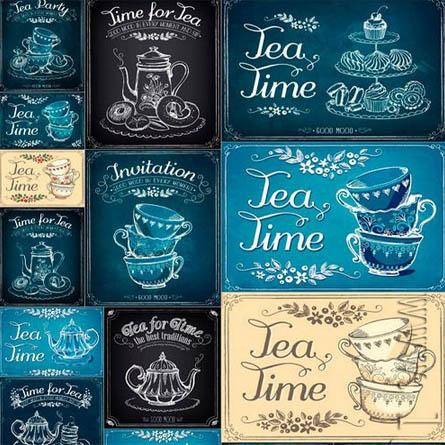 手绘高清茶杯茶壶个性线稿插图插画复古餐厅招贴海报图片