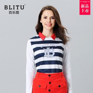 春秋女装 高尔夫衣服女士长袖T恤时尚运动Polo衫弹力修身休闲服装