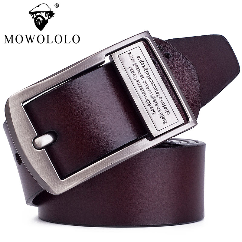 Genuine leather belt mens leather pin buckle belt pure cow leather Korean youth middle age business leisure belt widening