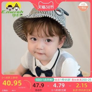 伊米伦婴儿帽子春夏可爱儿童渔夫帽遮阳新款宝宝太阳帽男纯棉韩版