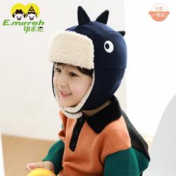 伊米伦婴儿帽子秋冬保暖男童护耳飞行帽新款鲨鱼造型儿童雷锋帽厚