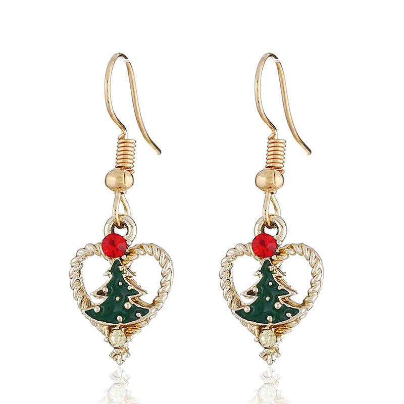 新款圣诞时尚耳环 创意水钻平安夜耳饰 出口货源圣诞树桃心耳钉