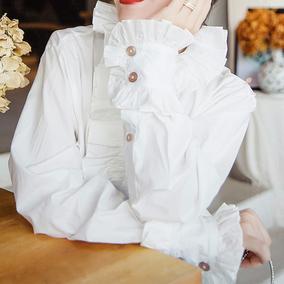 欧货宫廷风新款女宽松设计感白衬衫