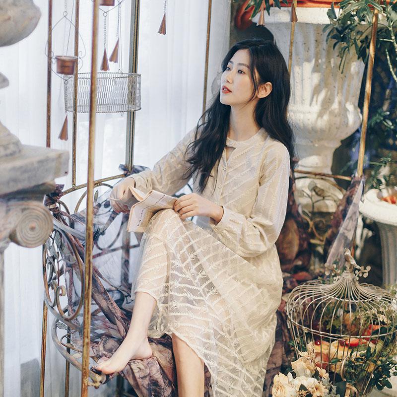 限100000张券宿本仙女裙长款2019新款连衣裙夏款蕾丝裙子小个子长袖超仙复古