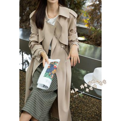 宿本风衣女2021新款设计感复式片显瘦外套双排扣英伦风百搭大衣