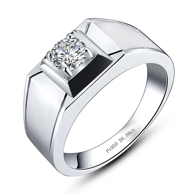 Pt950 pure silver platinum plated imitation diamond ring for mens ring