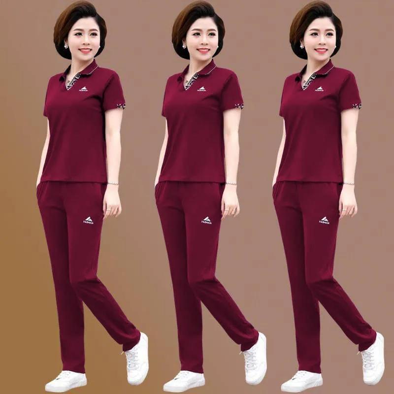 单/套装 妈妈装2021夏季短袖两件套装中老年运动服40岁50大码女装