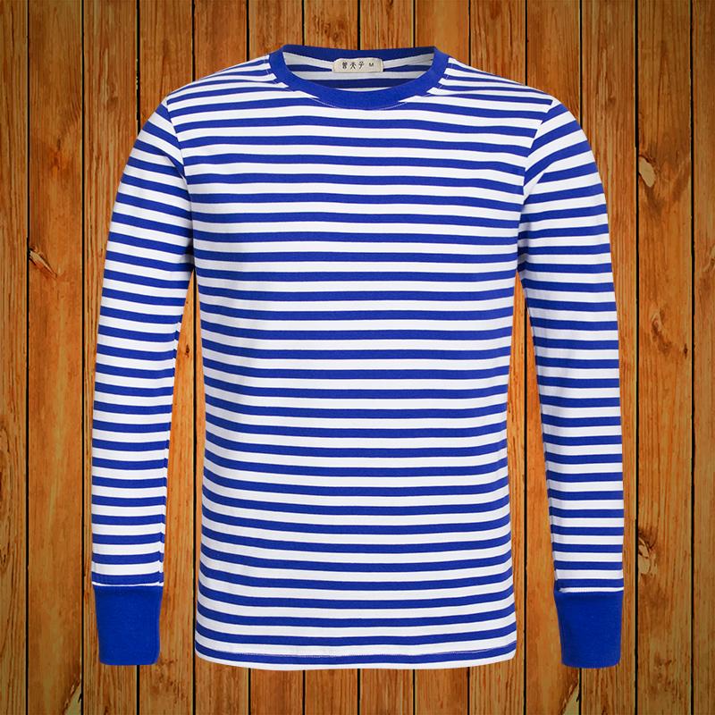 秋衣正品海魂衫男长袖t恤 海军水手服纯棉打底蓝白条纹上衣情侣装图片