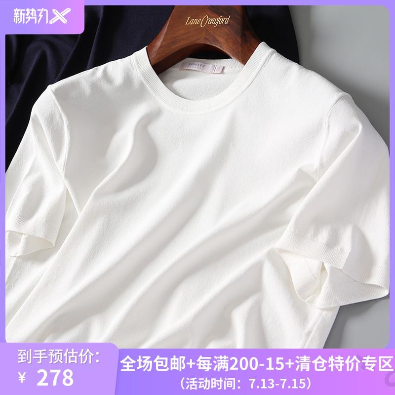 夏季商务基础款 16针横机工艺针织衫 男士白色短袖圆领T恤 DAT599