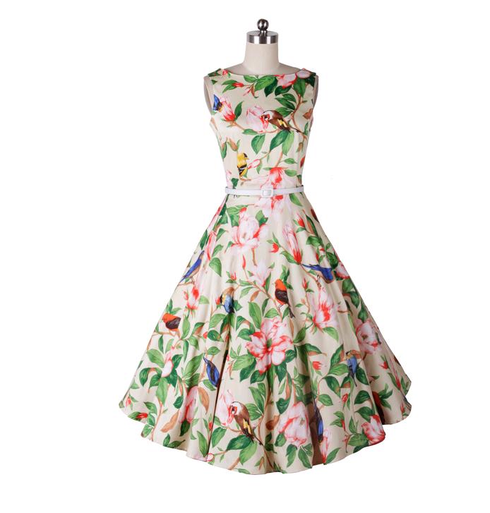 春夏季时尚速卖通爆款复古赫本风50s收腰显瘦大摆连衣裙 送腰带