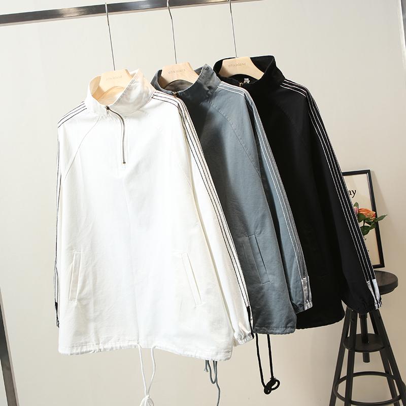 2020春装新款200斤胖妹妹套头宽松版大码女装卫衣夹克外套图片