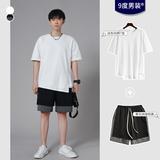 【套装】夏装新款2020潮流男士开衩短袖T恤韩版情侣半袖体恤衣服