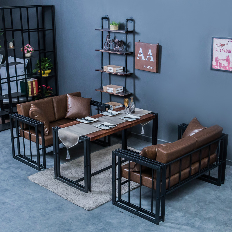 Американский loft страна промышленность ветер диван палуба железо диван стул кофе зал бар диван обеденный стол стул сочетание