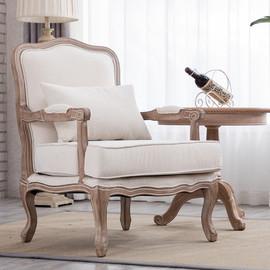 美式老虎椅单人沙发北欧小户型布艺高背复古椅子欧式法式轻奢凳