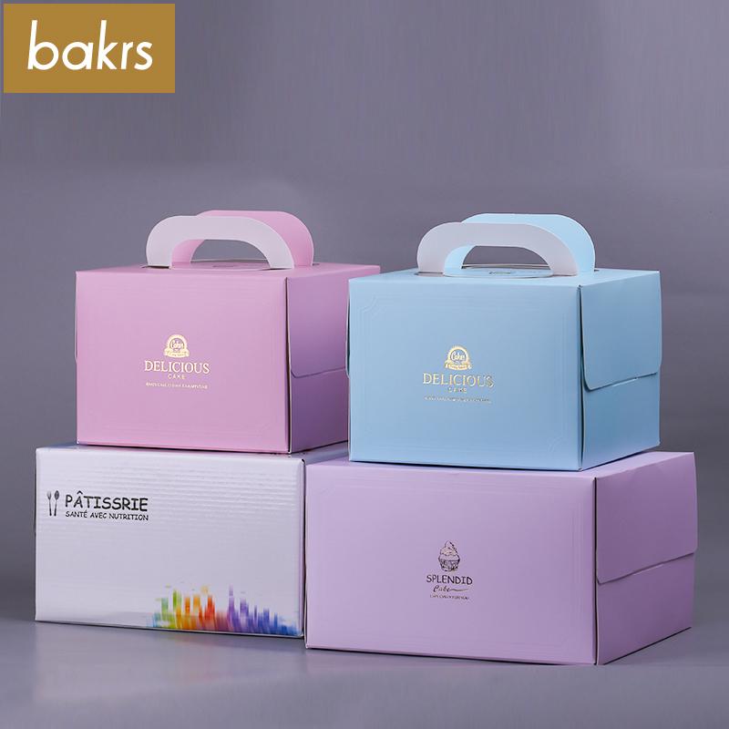 6寸8寸手提生日蛋糕盒子 白卡紙慕斯點心盒 送底托烘焙包裝盒
