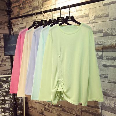 春季韩版慵懒风薄款宽松防晒衣罩衫女抽绳上衣长袖外搭冰丝针织衫