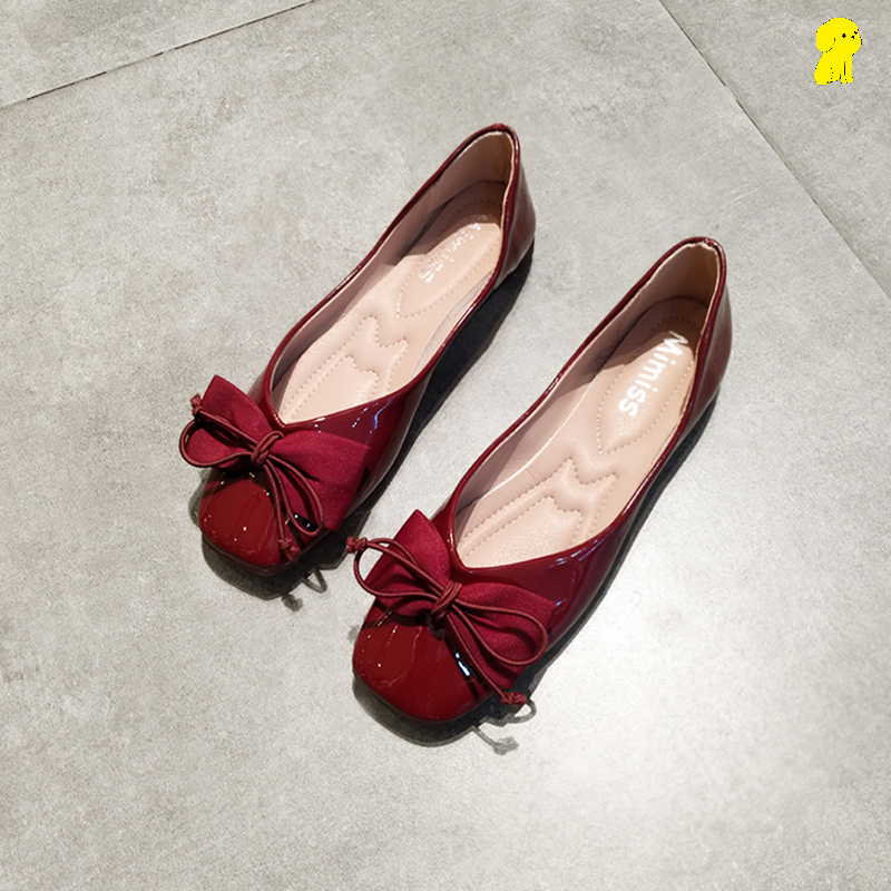 Wedding shoes usually can wear bow single shoes shallow flat bottomed square head granny shoes soft soled bride shoes female wine red women