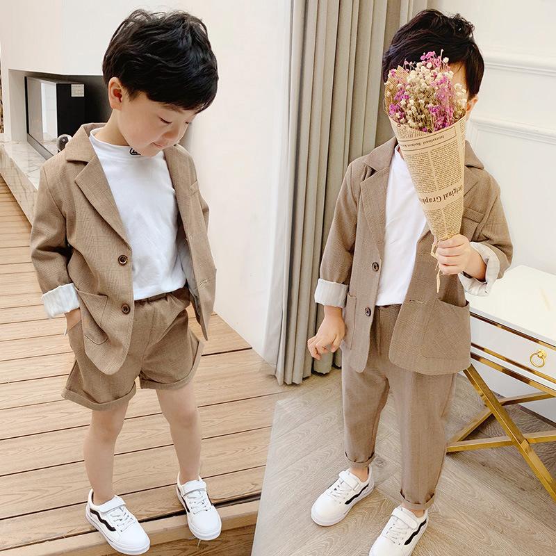 5小童西裝套裝秋季男童3歲男孩西服4帥氣兒童小西裝外套英倫韓版6