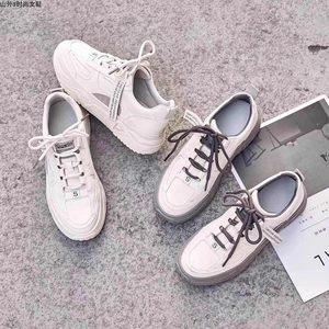 2020春款小白鞋女鞋韩版松糕鞋灰底白皮面百搭休闲特惠包邮