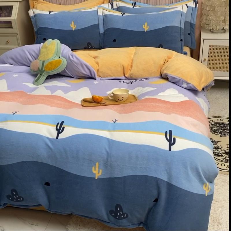 厚い牛乳臻コットンの4点セット冬サンゴの絨毯の冬の両面のシーツと絨毯のベッドの上でカバーされています。