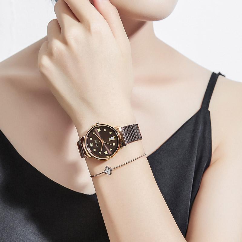 聚利时韩国时尚品牌新款带日历不锈钢链学生女士防水手表包邮腕表