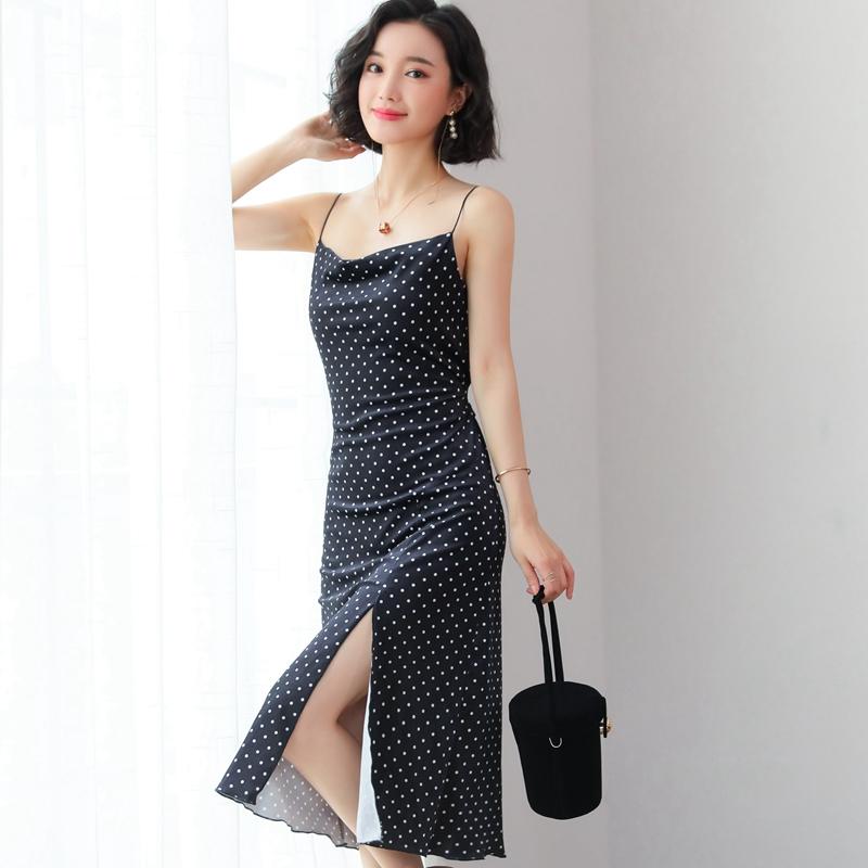 2019夏季新款波点开叉修身显瘦高腰吊带连衣裙女性感柔美中长裙潮